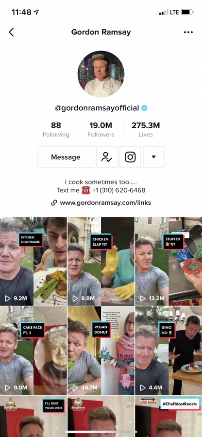 A screenshot of Gordon Ramsay's TikTok page. Over the past year he has gained a ton of popularity on the app.