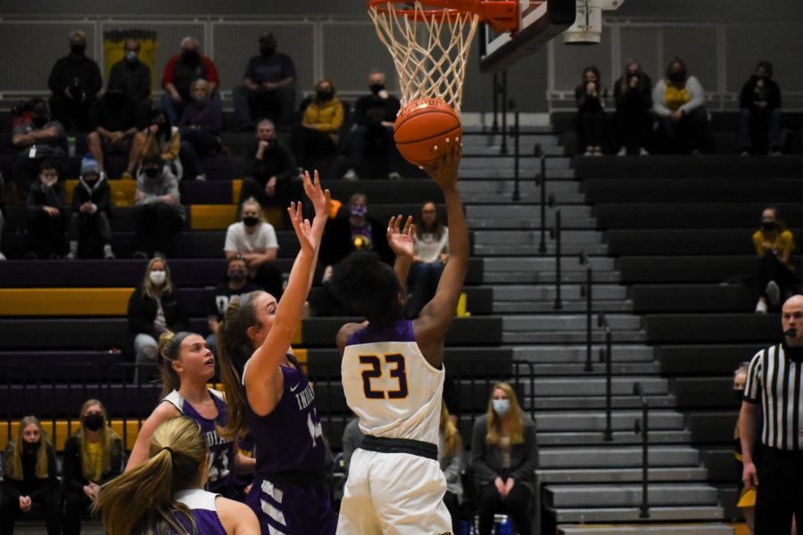 Aaliyah Riley 24 find her way to the lane for an easy layup. The girls beat Indianola High 84-61.