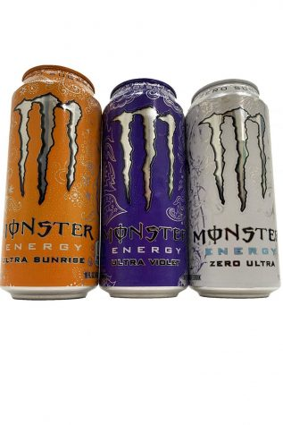 Some of the Monster energy drink flavors.