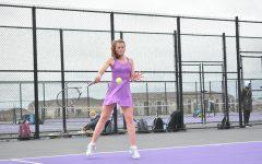 During her doubles match against Valley, Jennifer Larson '21 hits a return of serve. Larson and her partner Allie Christensen '24 lost 4-5.