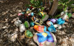Students painted rocks to help with the school's inner beauty.