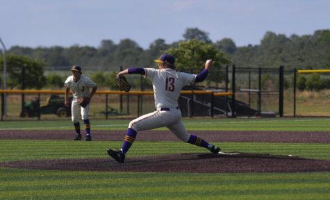 Pierce Anderson 23 attempts to strike out an Urbandale batter during the first of two games on June 23, 2021.