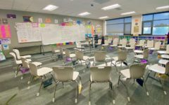 Stephanie Riessens desk-less Spanish classroom.